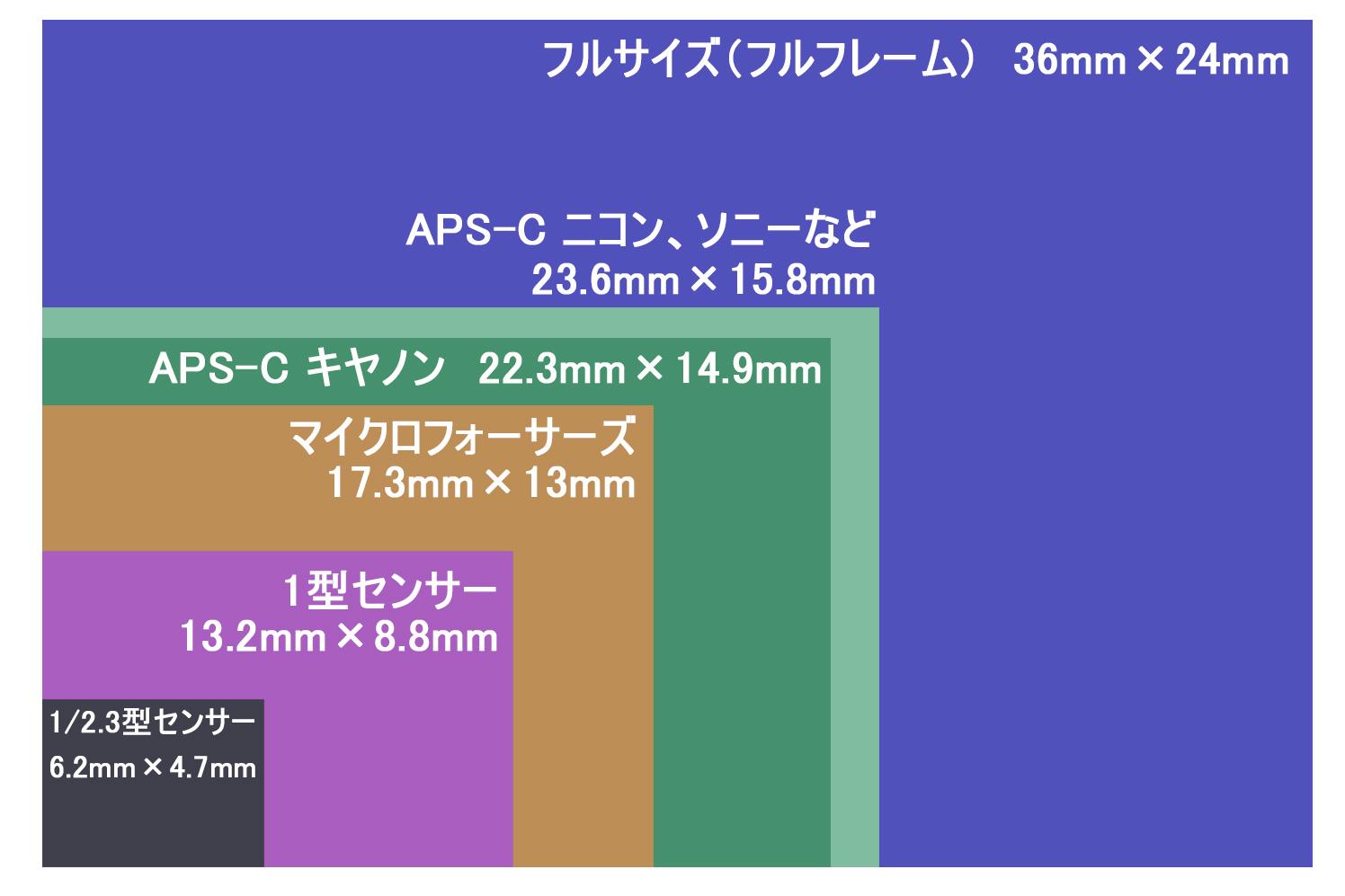 各センサーサイズの比較図
