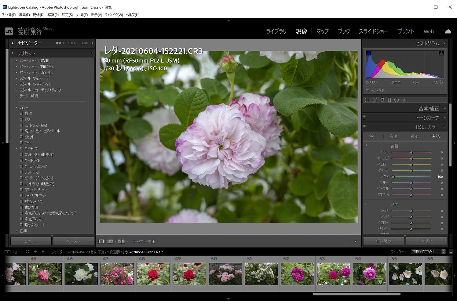 Adobe Lightroomによる現像作業